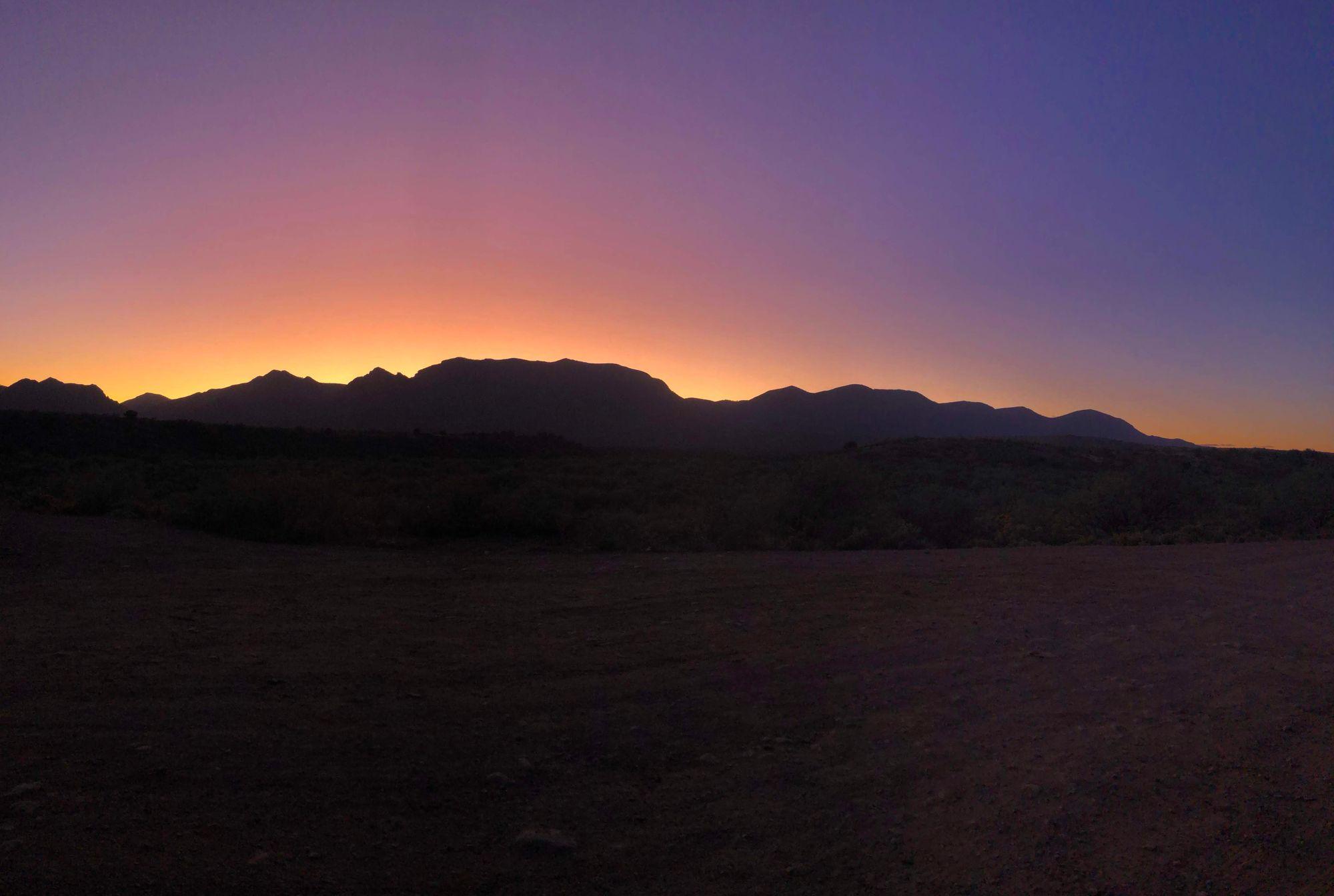 Purple, Yellow, Dark Purple, Orange Dirt Road Sunset in Arizona Tonto National Forest