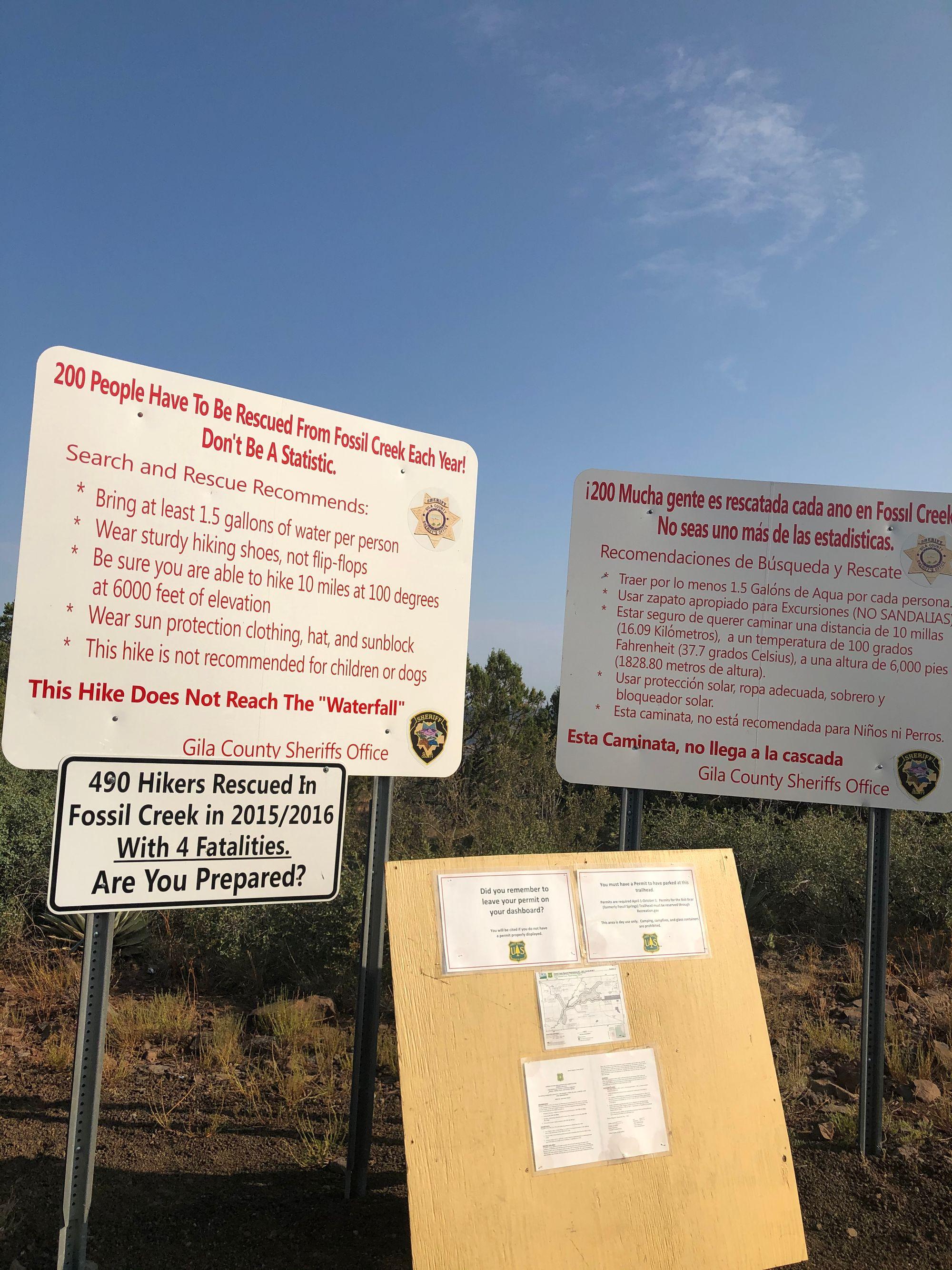 warning signs posted at Bob Bear Trailhead in Arizona