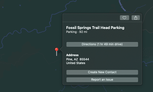 Park at Fossil Springs Trail Heading in Arizona