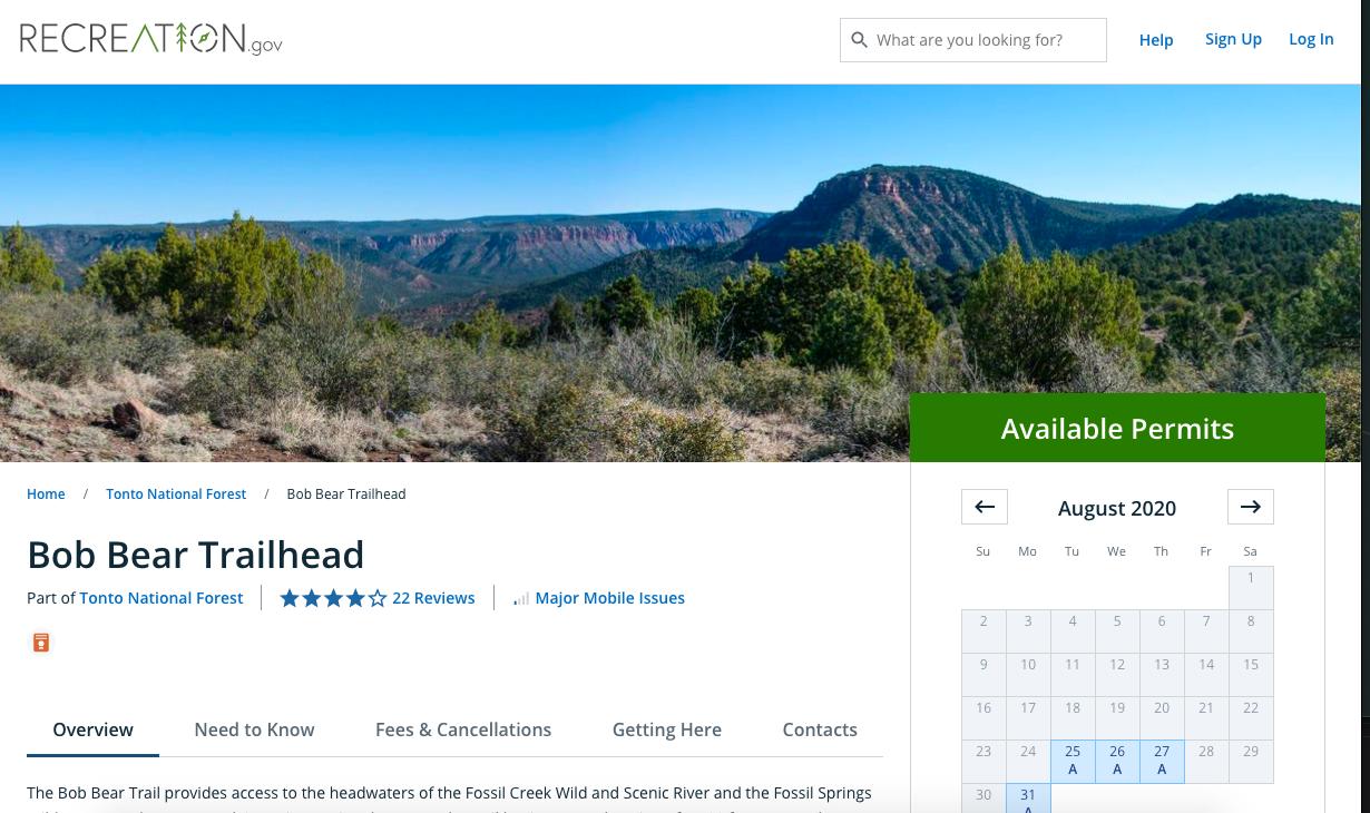 Permit website to Bob Bear Trail Arizona FOssil Springs