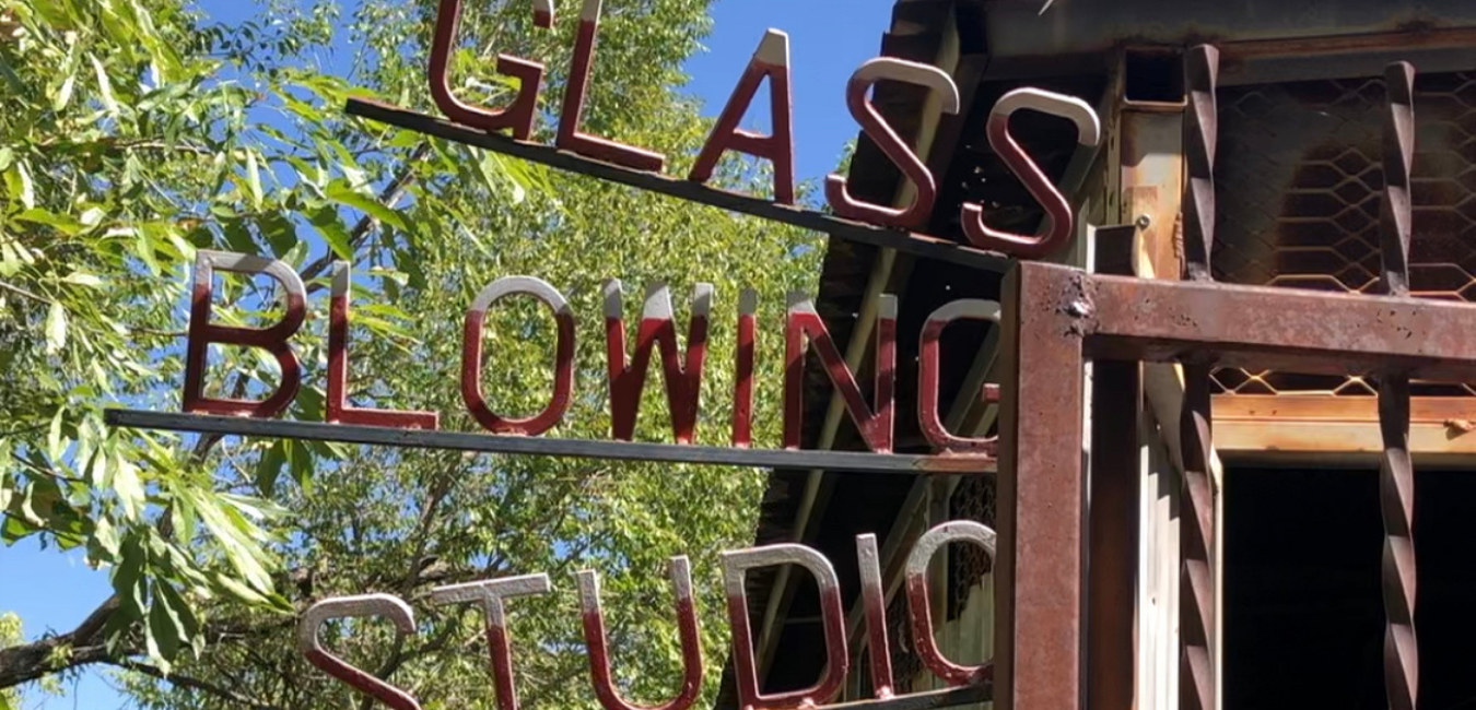 sign out front of the Glass Blowing Studio in Jerome.