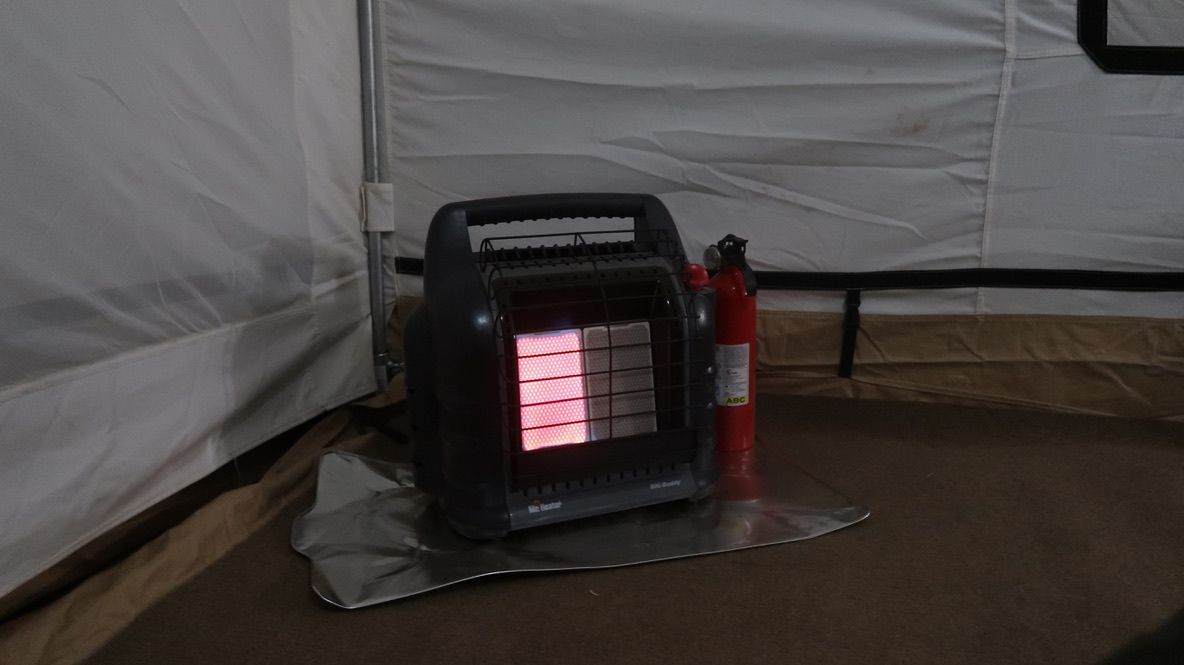 heater inside tent at out of africa