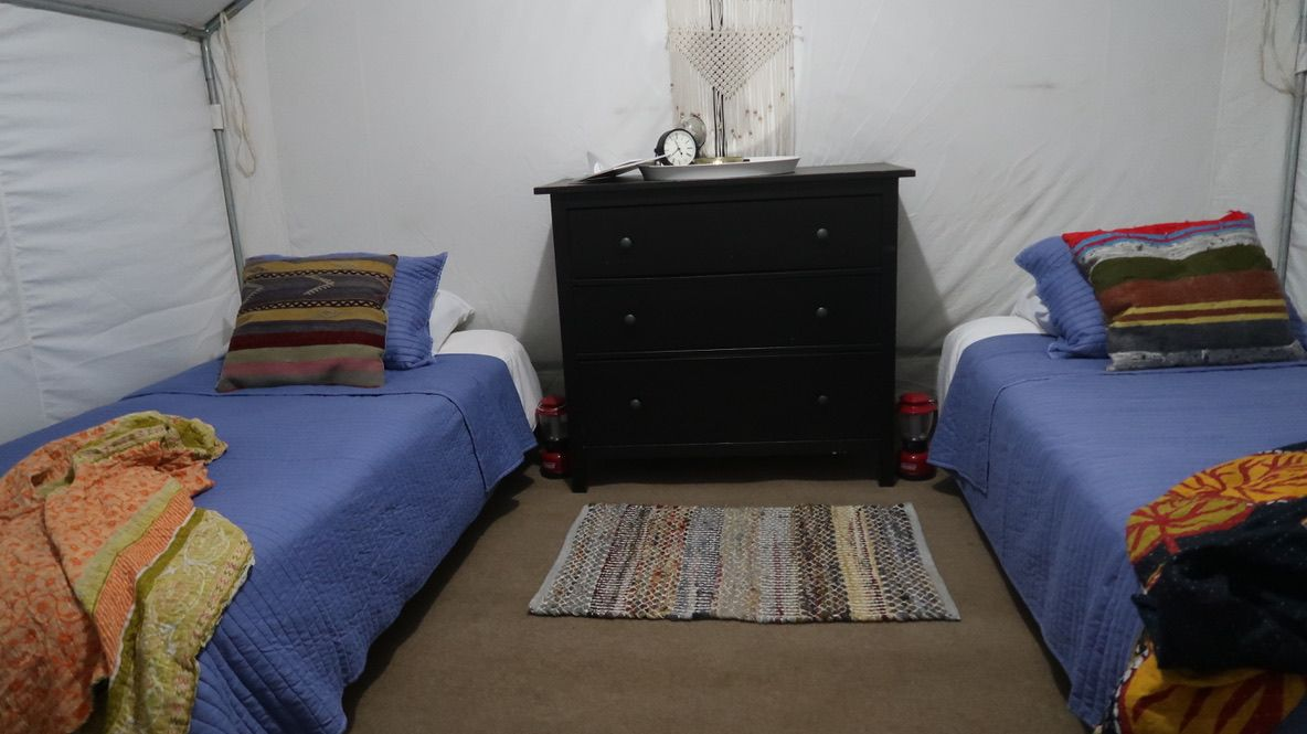 twin beds inside a glamping tent